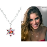 Millefiori Thousand Flowers Star of David Pendant