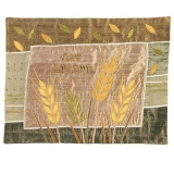 Raw Silk Appliqued Challa Cover  Wheat gold