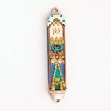White and turquoise Oriental Mezuzah Case
