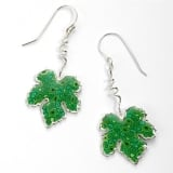 Grape Leaf Earrings   Green