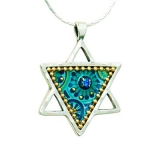 Hand beaded blue green Star of David Necklace by Iris