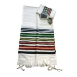 Gabrieli Wool Tallit Set   Josephs Multicolor Coat on White