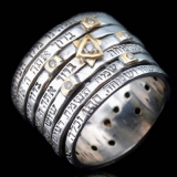 Seven Blessings Spinner Silver Jewish Ring by HaAri