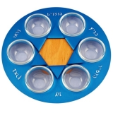 Star Of David Seder Plate by Shraga Landesman  Blue