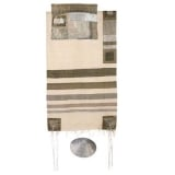 Emanuel Silk Tallit With Gray on White Stripes