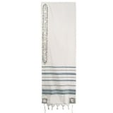 Emanuel Jerusalem Wool Embroidered Tallit   Sea Green