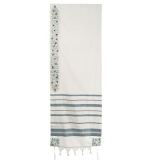 Emanuel Embroidered Wool Tallit   Pomegranate in Sea Green