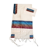 Gabrieli Wool Tallit Blue, Bronze And Bourdeaux