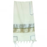Gabrieli Wool Tallit Silver and Beige Design