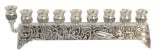 Silver Plated Brass Filigree Hanukah Menorah
