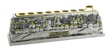 Jerusalem Hanukah Menorah With Gold Color Accents