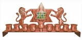 Hoshen With Lions Hanukkah Menorah   Copper