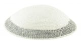 White handmade knitted Kippah With Grey Border