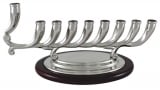Graceful Chanukah Menorah with wood base