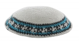 White Knitted Kippah with Blue Black border