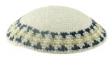 White handmade knitted kippah With Blue And Olive Green Border