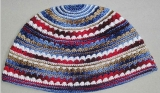 Premium DMC Frik Kippah with Red, Blue and Olive Stripes