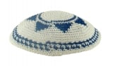 White handmade knitted kippah with blue Star Of David