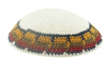 White handmade knitted kippah With Blue Olive Maroon And Brown Border