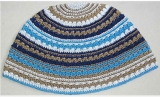 Premium DMC Frik Kippah Blue, Brown and Grey Stripes