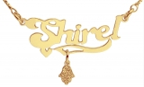 Gold Filled English Name Necklace with Hamsa pendant