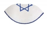 Frik Kippah With Light Blue Star Of David