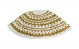 Gold and white Stripes Frik Kippah