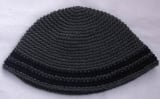 Gray Frik Kippah with black stripes