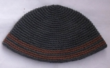 Gray Frik Kippah with brown stripes