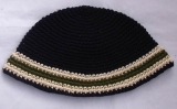 Blue Frik Kippah with Cream and Khaki Stripes