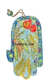 Seven Species Wood Painted Hamsa by aJudaica