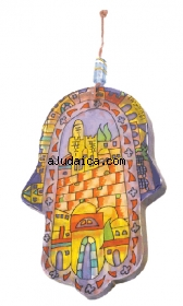 Jerusalem of Gold Glass Hamsa by aJudaica