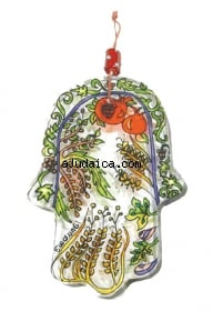 Seven Species Glass Hamsa by aJudaica
