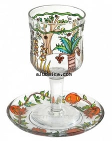 Painted Wineglass and Saucer   Seven Species design by aJudaica