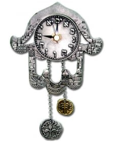 Hamsa Clock with Hebrew Letters and Jerusalem Motif by aJudaica