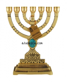 Seven Branch Menorah with Blue Stone by aJudaica