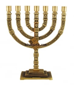 Twelve Tribes Seven Branch Menorah by aJudaica