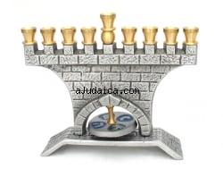 Jerusalem Wall Brass Hanukkah Menorah by aJudaica