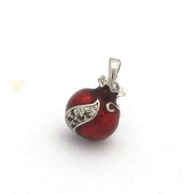 Gold Filled Rodium Pomegranate Garnet Drop Pendant