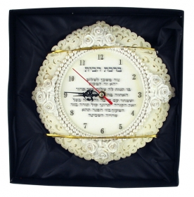 English Home Blessing with White Clock by aJudaica