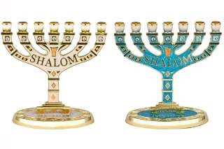 Enamel Temple Menorah   Shalom by aJudaica