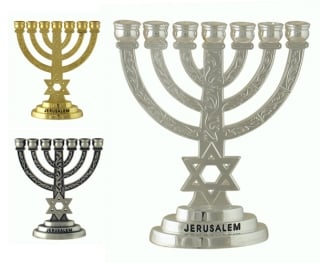 Star of David Silver Seven Branch Menorah by aJudaica