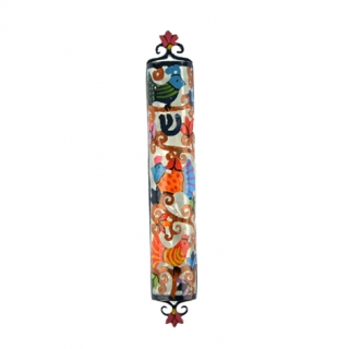Yair Emanuel Laser Cut Hand Painted Metal Mezuzah   Birds by aJudaica