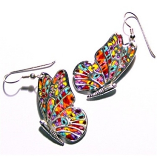 Millefiori Thousand Flowers Butterfly Earrings by aJudaica