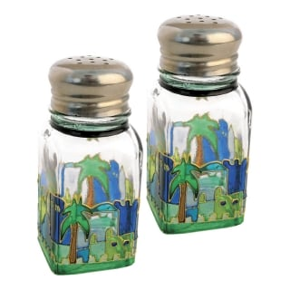 Glass Salt and Pepper Shakers with Jerusalem design by aJudaica