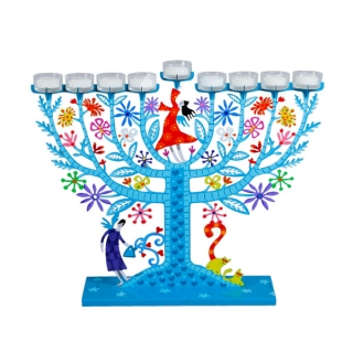 Family Tree Hanukkah Menorah   Light Blue by aJudaica
