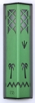 Metal Date Palm Mezuzah Case by Shraga Landesman   Green