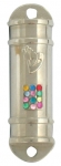 Nickel Plated Car Mezuzah with Breastplate Stones