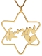 Gold Filled Cursive Hebrew Name Necklace Star of David