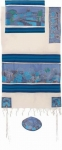Emanuel Woven Cotton and Silk Tallit   Jerusalem dove in blue
